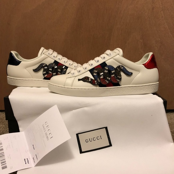 Womens Ace Gucci Snake Sneaker